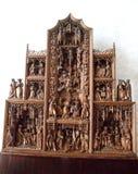 在偏僻寺院宫殿圣徒Peterburg的小的雕象 库存照片