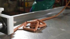 在做植物的肉和香肠的工业香肠生产过程 香肠生产线 香肠工厂 股票录像