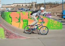 在做特技的自行车公园的孩子 免版税库存图片