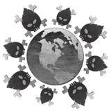 在停止的地球飞行图标含毒物附近 免版税库存照片