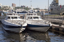 在停泊的小船 免版税库存图片