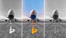 在停车场的客机, aiport停车处 免版税图库摄影