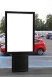 在停车场的空白的广告牌 库存照片