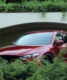 在停车处的现代红色汽车在私有区域 库存照片