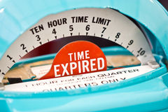 在停车时间计时器的满期的显示。 免版税图库摄影