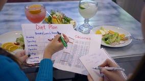 在健康早午餐期间,卡路里控制,有饮食计划日历的妇女做在纸片的计数卡路里