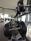 在健身健身房的黑哑铃 库存照片