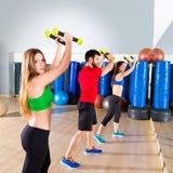 在健身健身房的Zumba舞蹈心脏人小组 库存照片