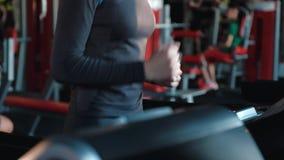 在健身房的一辆特别踏车训练少女的被提炼的腰部 股票录像