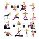 在健身房的健身和锻炼锻炼 在白色背景象平的样式隔绝的传染媒介套 库存图片