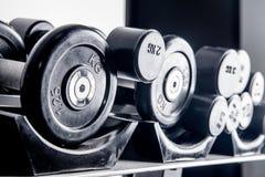 在健身房的各种各样的哑铃 免版税库存图片