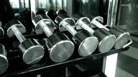 在健身房的Dumbells行 免版税图库摄影