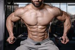 在健身房获取肌肉的英俊的健身模型火车 库存照片