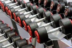 在健身演播室排队的哑铃重量 免版税库存图片