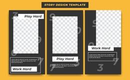 在偶然黑现代简单的运动的题材的社会媒介故事设计模板有influencer的,产品数字背景,和 库存例证