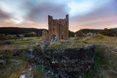在偶象Lithgow铁器鼓风炉的日出在 库存照片