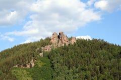 在储备克拉斯诺亚尔斯克柱子的山Ermak 图库摄影