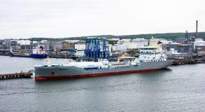 在储存箱附近靠码头的邮轮船 图库摄影
