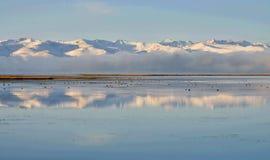在儿子库尔湖附近,吉尔吉斯斯坦,中亚的自然地标镇静水的天山山  库存图片