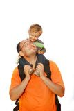 在儿子白色的父亲 图库摄影