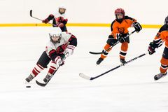 在儿童冰曲棍球队之间的比赛 免版税库存照片