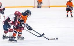 在儿童冰曲棍球队之间的比赛 库存图片
