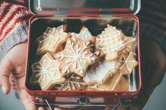 在儿童午餐盒的圣诞节曲奇饼 免版税库存照片