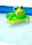 在儿童水池的浮动玩具青蛙 库存图片