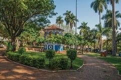 在充分方形和嫩绿的庭院的老五颜六色的眺望台树中间,在日落在São曼纽尔 免版税库存图片