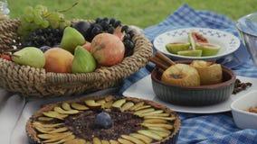 在充分桌上的照相机平底锅与健康甜点:水果沙拉、被烘烤的苹果用桂香,被烘烤的苹果和李子饼 股票录像