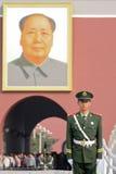 在充分的统一的中国国家警察在Tiananm 免版税库存照片
