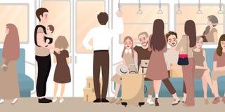 在充分繁忙的火车乘客通勤者站立的和坐的人民里面 向量例证