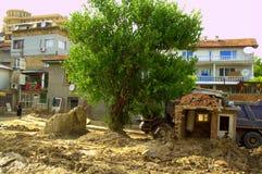 在充斥保加利亚以后的被毁坏的房子 图库摄影