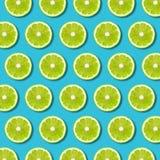 在充满活力的绿松石背景的绿色石灰切片样式 免版税库存图片