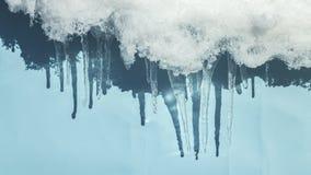 在充满活力的蓝色背景时间间隔的熔化的冰柱 影视素材