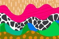 在充满活力的颜色的抽象手拉的背景例证变粉红色橙色绿色棕色黑蓝色 皇族释放例证
