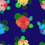 在充满活力的颜色的霍滕西亚手拉的无缝的样式 库存例证