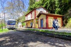 在兆Spileon驻地的Odontotos火车在Zachlorou村庄 免版税库存照片