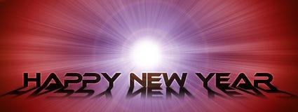 在光亮的空间背景的新年快乐文本 免版税库存照片
