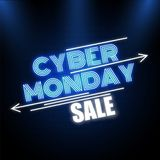 在光滑的蓝色背景f的创造性的霓虹星期一文本网络销售 向量例证