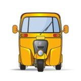 在光滑的阴影的黄色颜色三轮车 向量例证