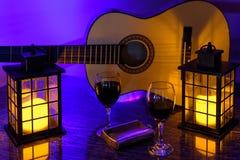 在光的吉他 免版税图库摄影