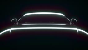 在光的时髦的汽车 在黑背景的自动介绍 超HD 4K Ð ¡ yclic动画,使成环 向量例证