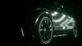 在光的时髦的汽车 在黑背景的自动介绍 皇族释放例证