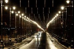 在光的街道 免版税库存图片