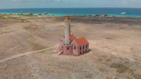 在克伦库拉索岛的灯塔 股票视频