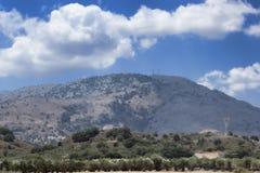 在克利特海岛上的山风景  免版税库存照片