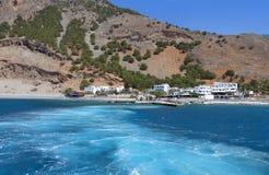 在克利特海岛的Aghia Roumeli在希腊 库存图片