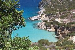 在克利特海岛的Mirabello海湾在希腊 免版税库存图片