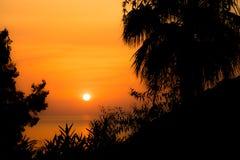 在克利特海岛,希腊的日落 免版税库存照片